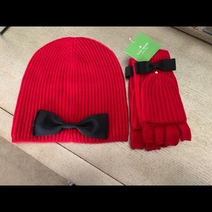 Kate Spade beanie and mittens set